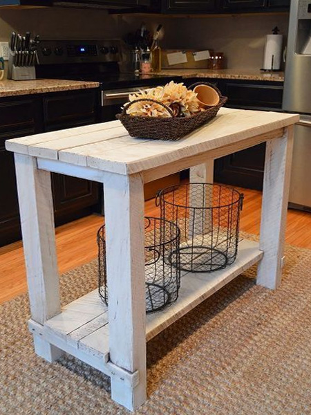 basic wooden kitchen island