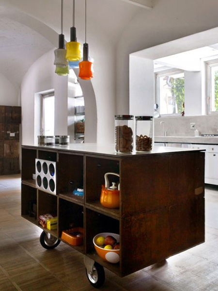 kitchen island with castor wheels