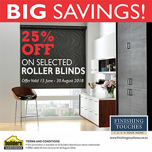special on roller blinds at finishing touches