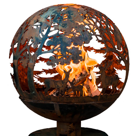 A fireglobe can be used to create a cosy outdoor setting where you can watch the flames dance around the globe, highlighting a specific design.
