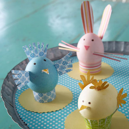 Gather together scraps of card and paper to make these farm animal Easter eggs.