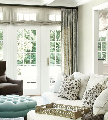 While you want French doors to be a feature in a room, you don't want to overpower them with window treatments, and when dressing French doors, less is definitely best - especially when layered to provide privacy or block out sunlight.