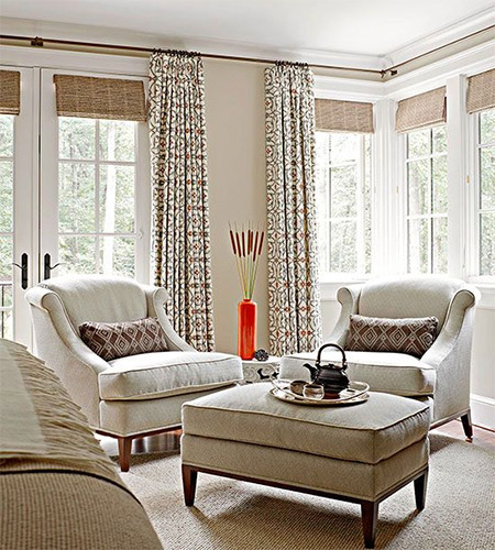 Finishing Touches you can have Roman blinds made to measure in a wide selection of trendy fabrics. That means you can design the perfect window treatment for French doors