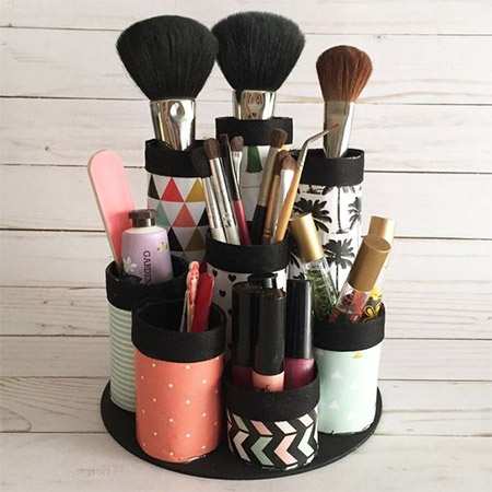 Kitchen towels, wrapping paper, or anything else on a cardboard tube - use the tubes to make a makeup holder.