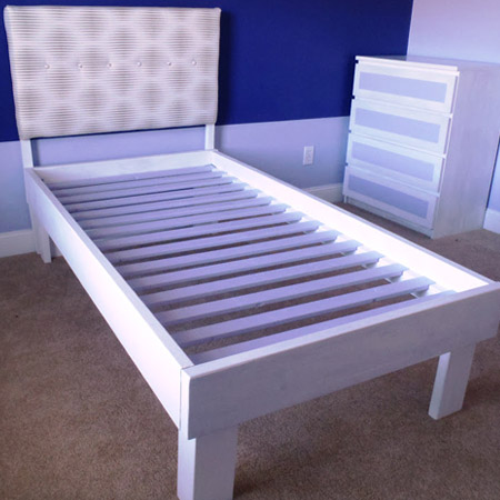 The bed base consists of 22 x 44mm pine slats that are slotted onto the frame, and can be easily replaced if the need arises.