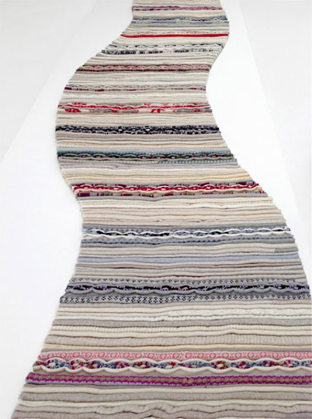Designer rug made from old clothes