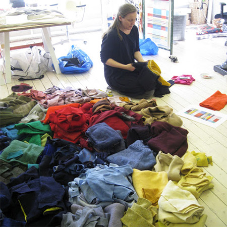 entire process began with cutting thousands of pieces of clothing