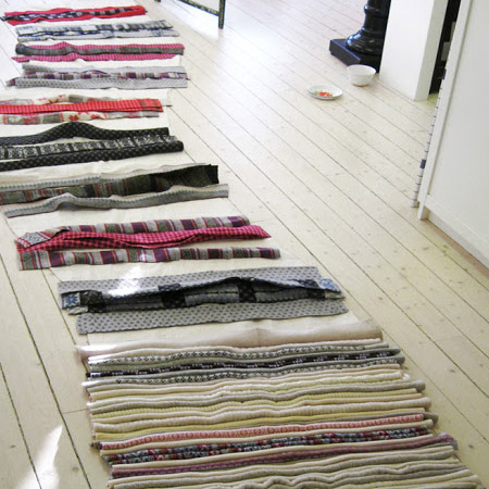 small batches of joined strips for the rag rug