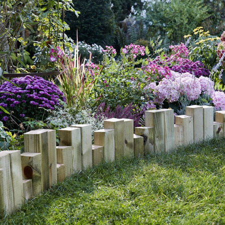 Use timber offcuts to make an attractive border for flower beds