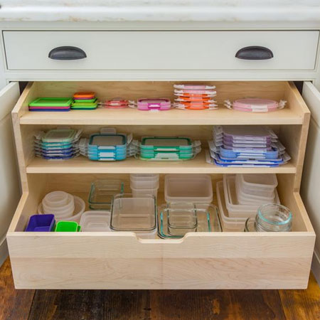 Organise your Tupperware with pullout shelves