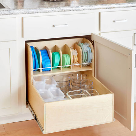 Organise your Tupperware with a pullout shelf