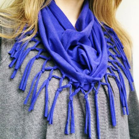 a fringe scarf is an easy way to repurpose your favourite t-shirt