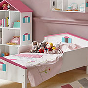 dollhouse bed and dollhouse bookcase