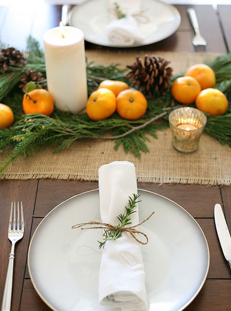 natural decor for holiday table