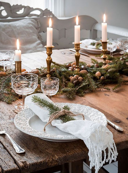 brass candle holders for holiday dining table