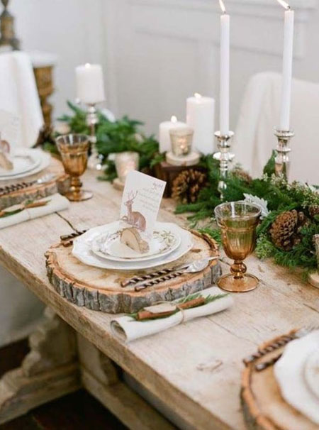 cut log table platters or chargers