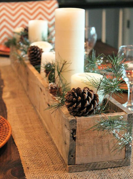 reclaimed wood centrepiece for festive table