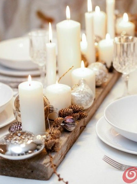 rustic wood table centrepiece
