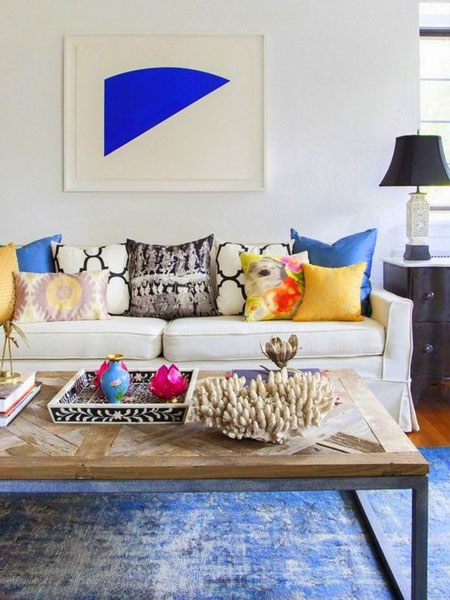 add colour to living room with cushions