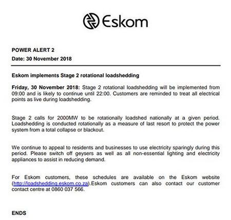 HOME DZINE News   Eskom Announces stage 2 Load Shedding