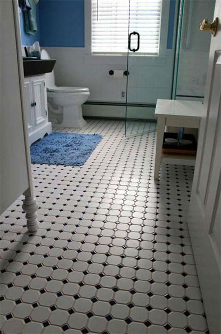 black and white floor tiles at Builders