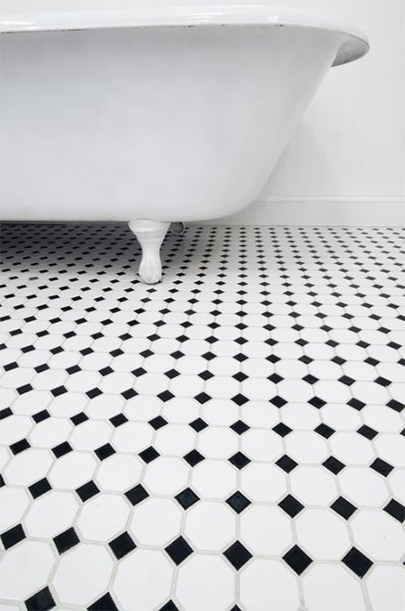 black and white hex mosaic tile