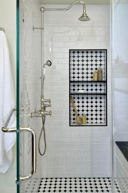 victorian bathroom with black and white tiles