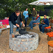 brick and concrete firepit