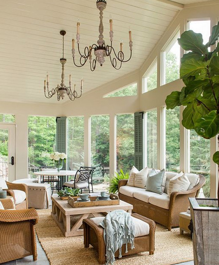 dual purpose sunroom for living and dining room
