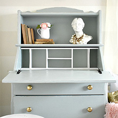 dresser makeover with milk paint finish