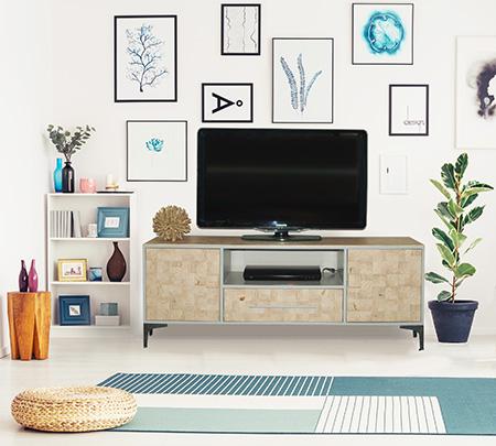 tv unit with wood slice veneer finish