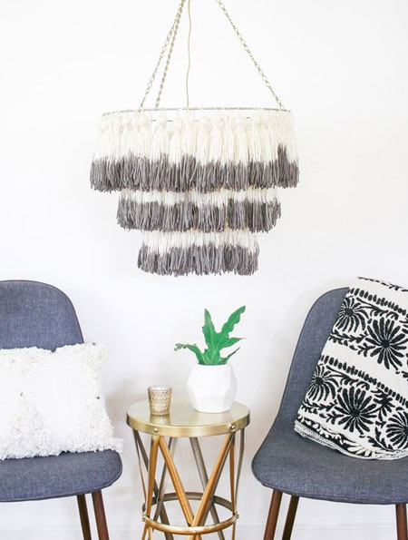 diy make a fringe lamp