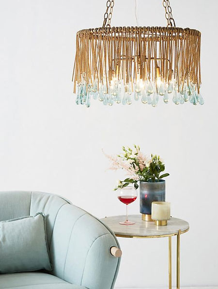 metallic gold boho lighting