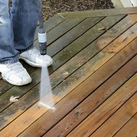 clean decking with high pressure cleaner