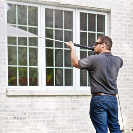 use high pressure spray to clean walls before painting
