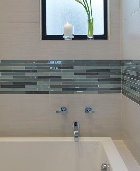 white tile with mosaic strip