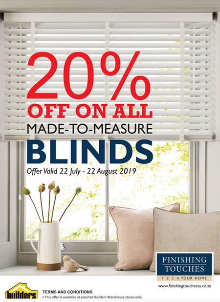 buy blinds less 20% at finishing touches inside builders warehouse