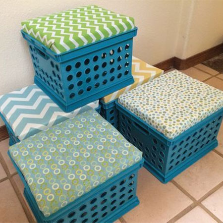 recycle plastic crates into upholstered stools