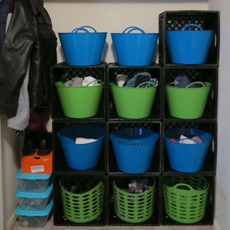 plastic crate storage shelves