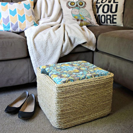 rope wrapped plastic crate footstool