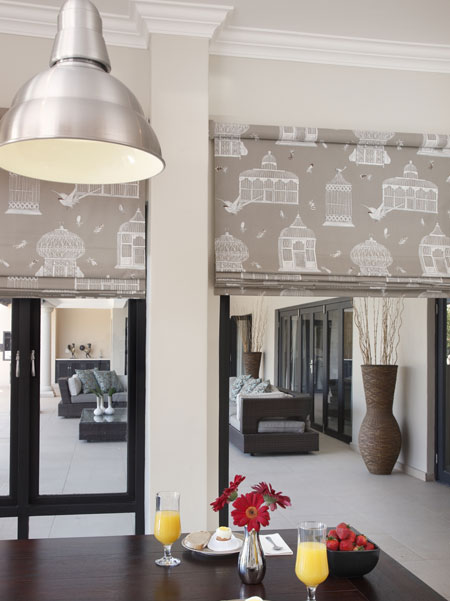 roman blinds in patterned fabric