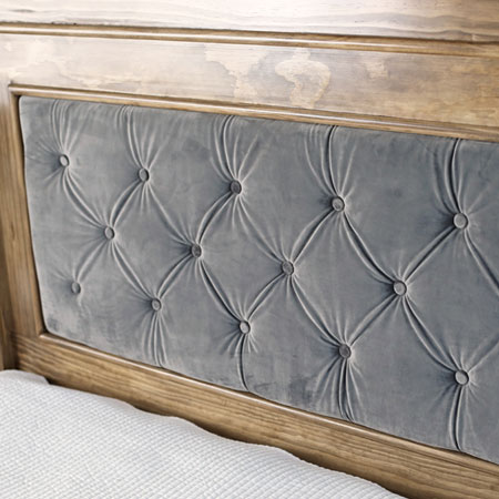 upholstered headboard with wood frame surround
