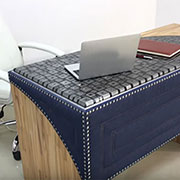 denim and resin desk