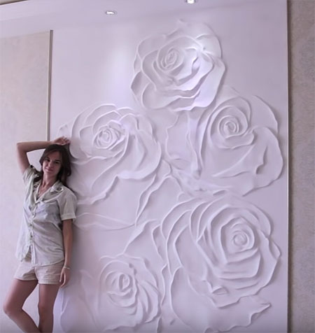 bas relief rose plaster panel