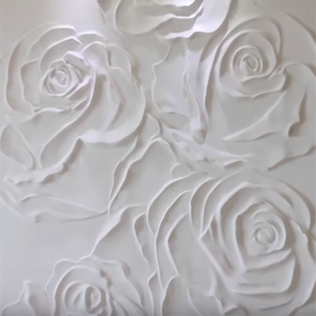 bas relief of plaster rose panel