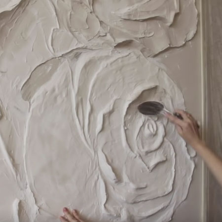 Bas Relief Plaster Roses Wall Panel