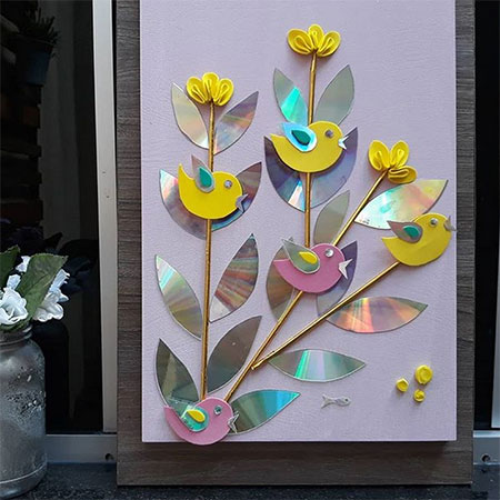use old cds for wall art