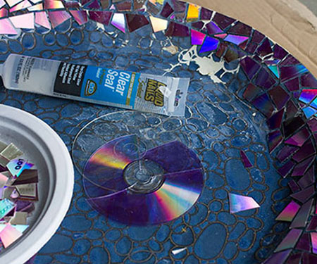 upcycle old cds into mosaic bowl