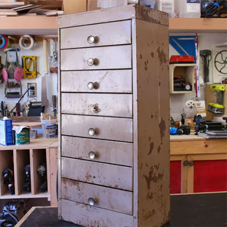upcycle rusty steel cabinet