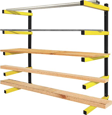 Tough durable rack solutions for storing wood, plastics, metal and workshop equipment